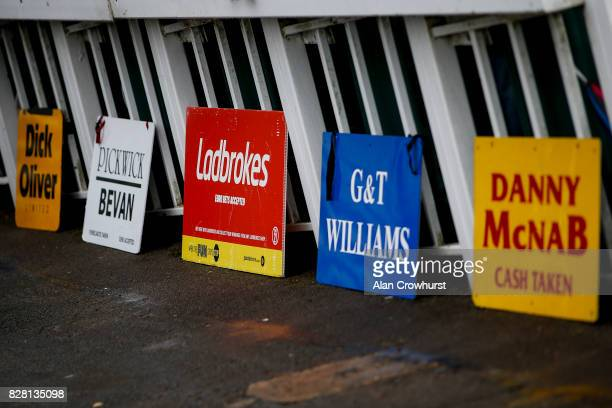 Bookmaker advertising at Bath racecourse on August 9 2017 in Bath England