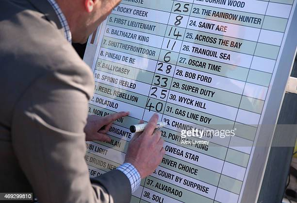 A bookmaker alters his odds prior to the 2015 Crabbie's Grand National at Aintree Racecourse on April 11 2015 in Liverpool England