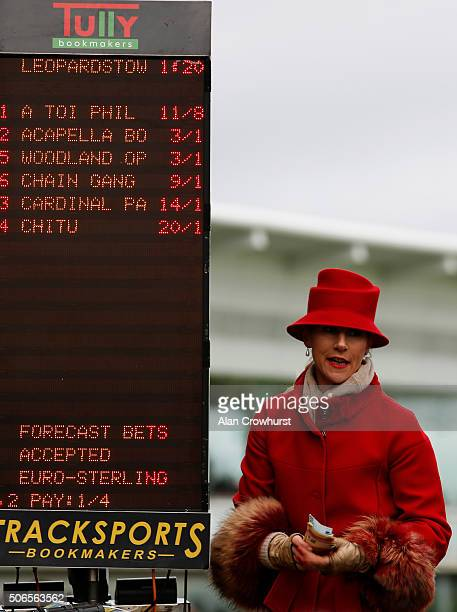 Bookmaker at Leopardstown racecourse on January 24 2016 in Dublin Ireland