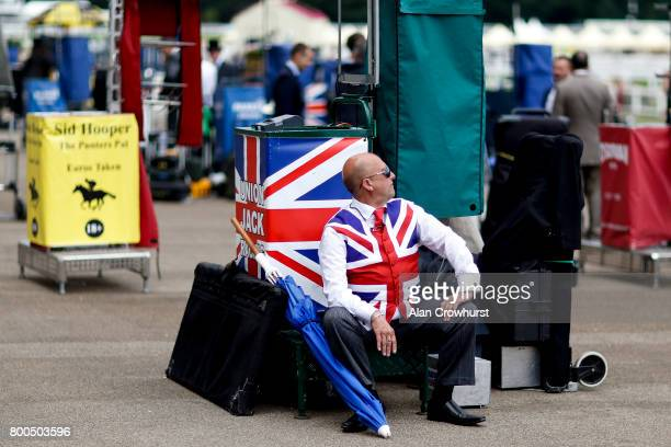 A bookmaker relaxes before the start of racing on day 5 of Royal Ascot at Ascot Racecourse on June 24 2017 in Ascot England