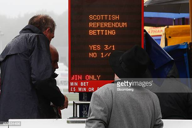 A bookmaker stands by a sign reading 'Scottish Referendum Betting' ahead of a horse race at Musselburgh racecourse during a publicity event arranged...