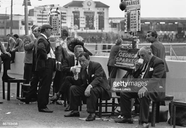 Bookmakers at West Ham greyhound race track in the East End of London 1960s