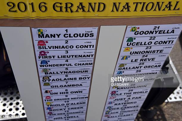 A bookmaker's board displays the horses competing in the Grand National the final day of the Grand National Festival horse race meeting at Aintree...