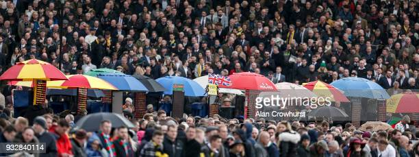 Bookmakers in the Dawn Run Stand at Cheltenham racecourse on Gold Cup Day on March 16 2018 in Cheltenham England