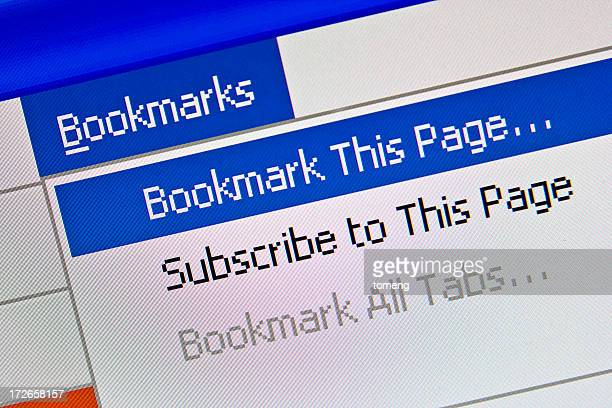 Bookmarks Option Displayed on Computer Monitor