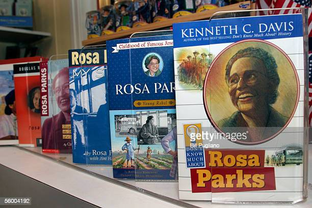 Books about civil rights pioneer Rosa Parks sit on display October 25 2005 at The Henry Ford Museum in Dearborn Michigan Rosa Parks died in her...
