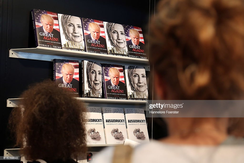 Books about Donald Trump and Hilary Clinton are displayed on the Plassen stand at the 2016 Frankfurt Book Fair (Frankfurter Buchmesse) on October 22, 2016 in Frankfurt am Main, Germany. The 2016 fair, which is among the world's largest book fairs, will be open to the public from October 19-23.