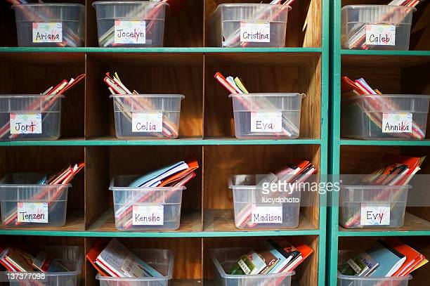 books and papers in cubby holes - palo alto stock pictures, royalty-free photos & images