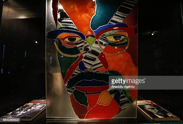 Books and photos of Malcom X are displayed during 50th anniversary of his assassination in Harlem New York United States on February 21 2015 Malcolm...