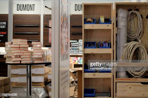 Books and tools at an exhibitor's stand prior to the opening of the Frankfurt Book Fair on October 9, 2018 in Frankfurt, Germany. Approximately 7,100...