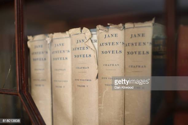 Books are displayed at the home of the celebrated late British author Jane Austen on July 18 2017 in Chawton England Jane Austen spent the last eight...