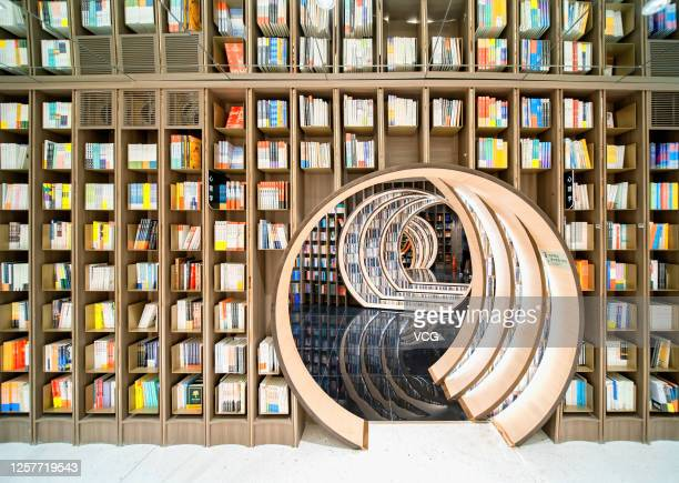Books are displayed for sale at the latest branch of Zhongshuge a Chinese bookstore brand known for its elegant and interesting designs on July 22...