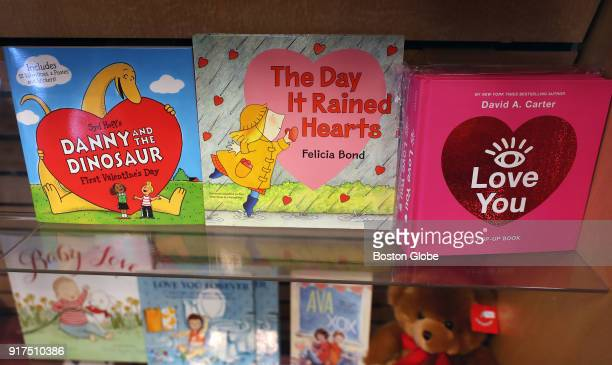 Books are displayed for Valentine's Day at Storybook Cove in Hanover MA on Jan 29 2018