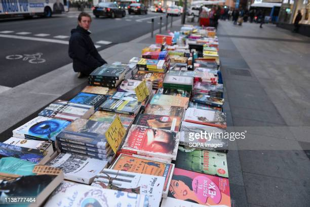 Books are seen being displayed at the Gran Vía' street ahead of the world book day celebration Tomorrow 23 April World Book Day is celebrated all...