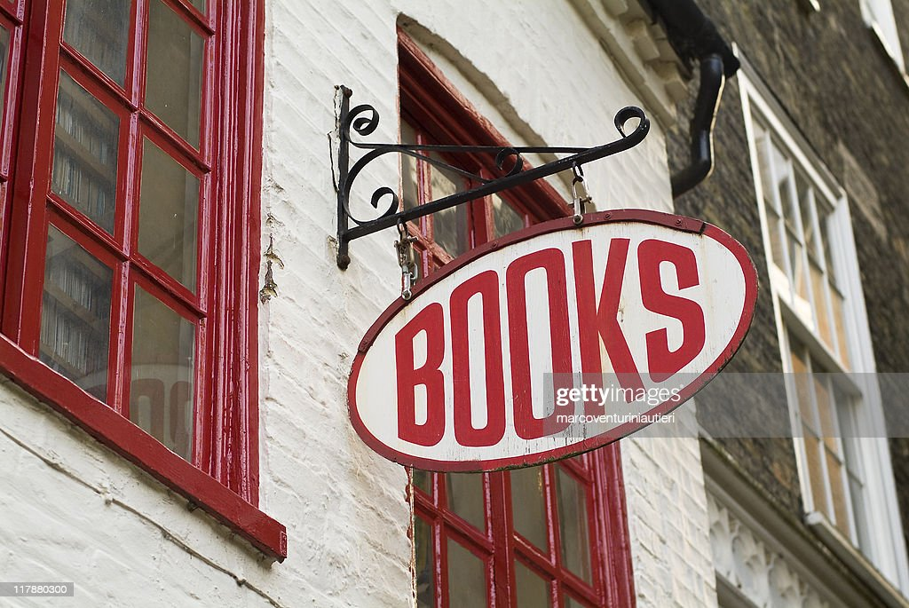 Books: Bookstore sign - English language : Stock Photo