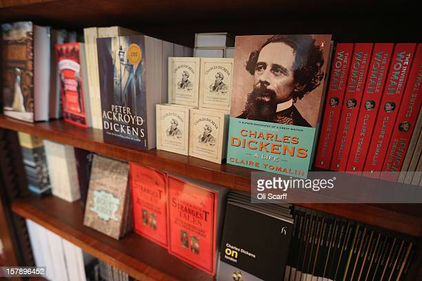 Books by or relating to Charles Dickens for sale inside the Charles Dickens Museum on December 7 2012 in London England The museum will reopen to the...