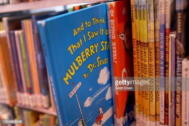 """Books by Theodor Seuss Geisel, aka Dr. Seuss, including """"On Beyond Zebra!"""" and """"And to Think That I Saw it on Mulberry Street,"""" are offered for loan..."""