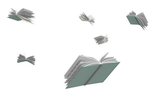 Books flying around, isolated on white background. 1133607878