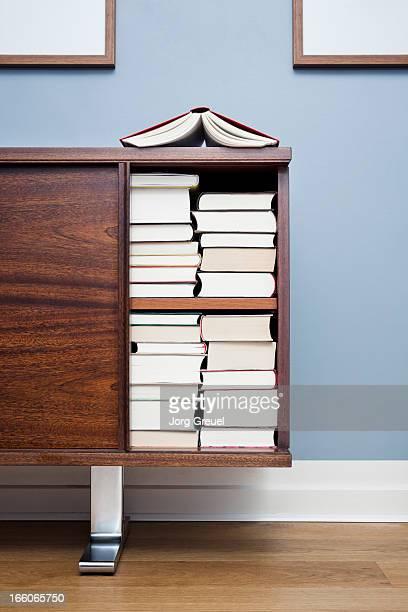 Books in a cabinet