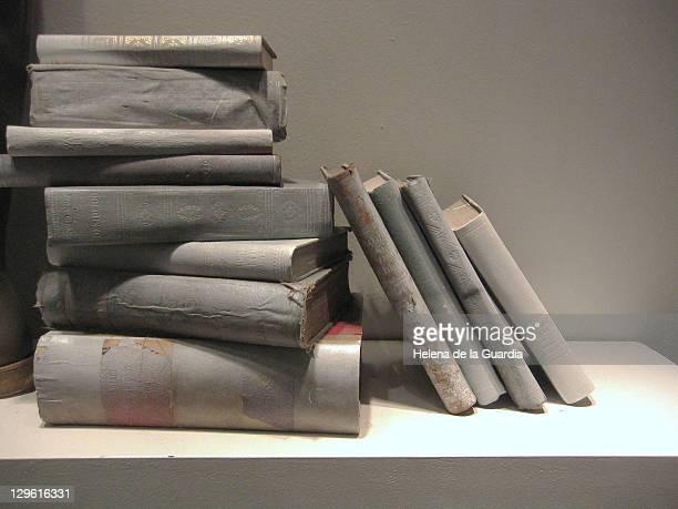 Books in gray scale