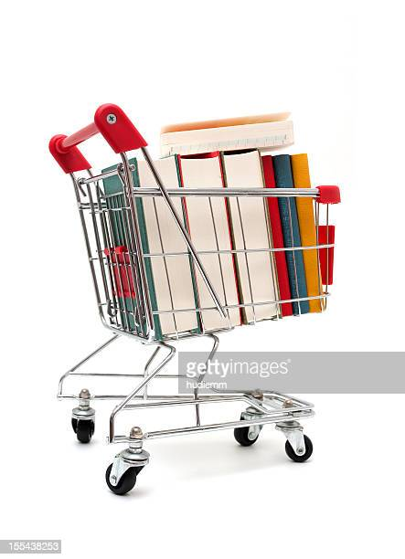 Books in Shopping Cart isolated on white background