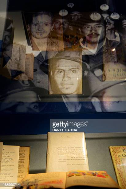 Books letters and a picture of Eva Duarte de Peron Evita with miners displayed at the main hall of the Evita Museum in Buenos Aires on May 16 2013...