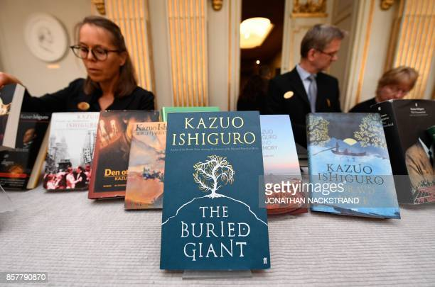 Books of British writer Kazuo Ishiguro are on display at the Swedish Academy in Stockholm Sweden where Ishiguro was announced as winner of the 2017...