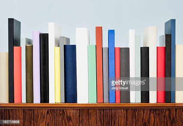 Books on a cabinet