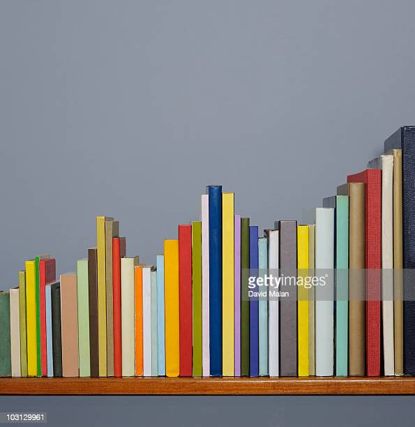 Books on a shelf forming a graph.