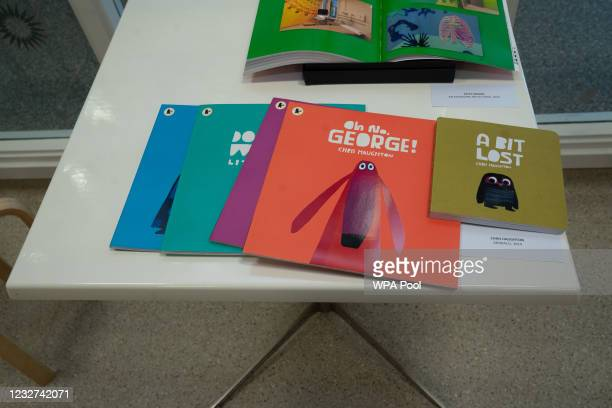 Books on display during a visit by Catherine, Duchess of Cambridge to the Royal London Hospital Whitechapel on May 7, 2021 in London, England. During...