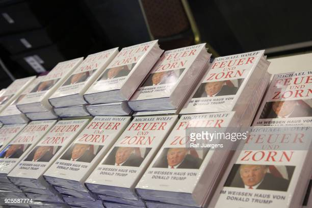 Books on display during the reading of Michael Wolff's book 'Fire and Fury Inside the Trump White House' at the litcologne on February 28 2018 in...