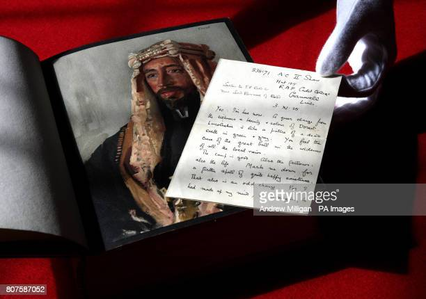 Books Specialist at Lyon and Turnbull Auctions Alex Dove with a lost letter from Lawrence of Arabia describing his experiences at an RAF base in...