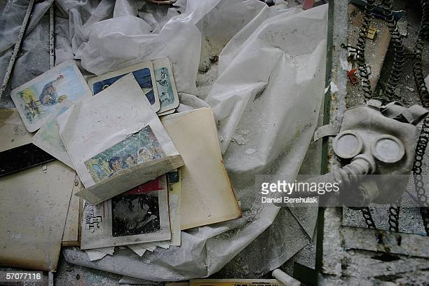 Books toys and a gas mask lay in dust in an abandoned pre school in the deserted city of Pripyat on January 25 2006 in Chernobyl Ukraine Prypyat and...