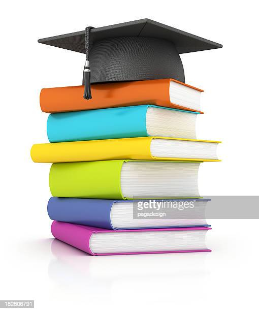 books with mortar board - multi colored hat stock pictures, royalty-free photos & images