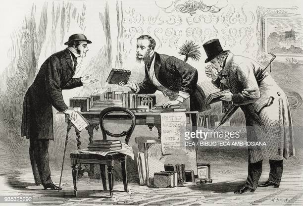 Bookseller panel of a charades game illustration from the magazine The Illustrated London News volume XLV December 24 1864