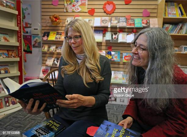 Booksellers Joey Jackson Mitchell and Janet Bibeau prepare for Valentine's Day at Storybook Cove in Hanover MA on Jan 29 2018