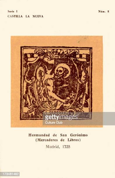 Booksellers' mark Hermandad de San Gerónimo Madrid 1725 Depicts St Francis de Geronimo No8 in a series in series I Produced by Instituto Nacional del...