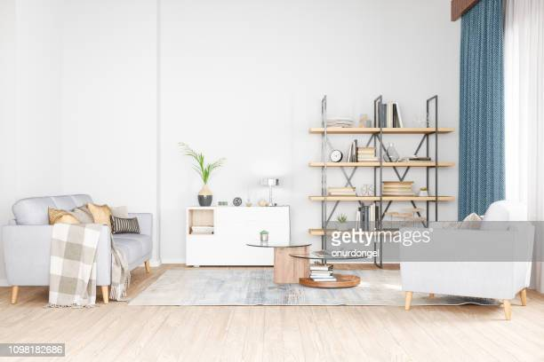 bookshelf, armchair and sofa in living room - living room stock pictures, royalty-free photos & images