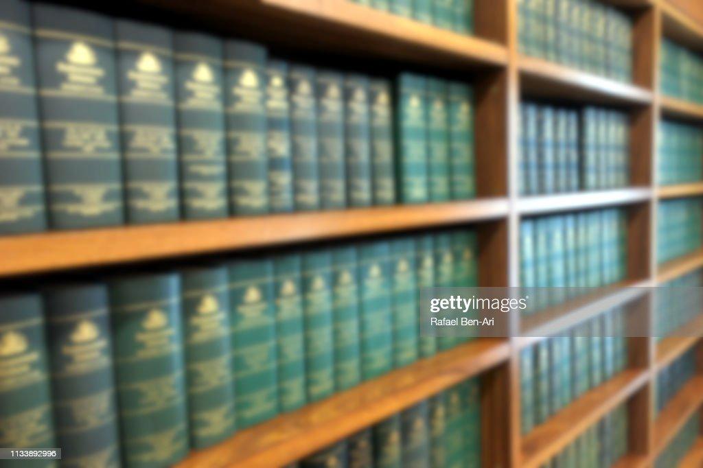 Bookshelf of law books office interior : Stock Photo