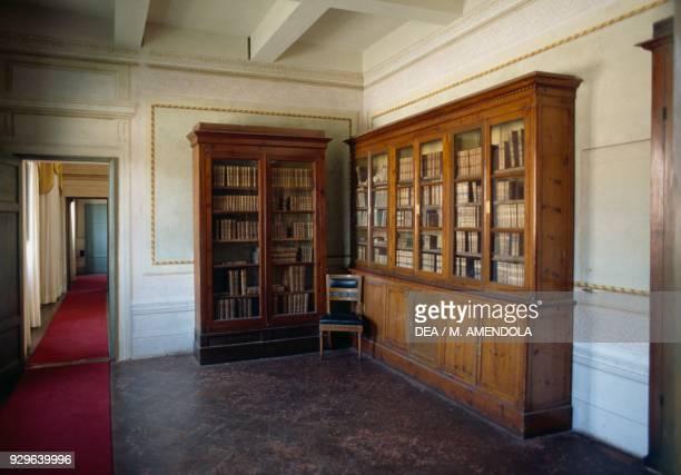 Bookshelf Palazzina dei Mulini the main residence of Napoleon Portoferraio Elba Tuscan Archipelago national park Tuscany Italy