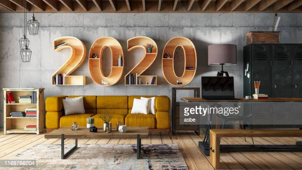 2020 bookshelf with cozy interior - new year 2020 stock photos and pictures