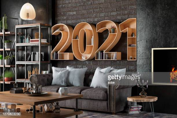 2021 bookshelf with cozy interior - 2021 stock pictures, royalty-free photos & images