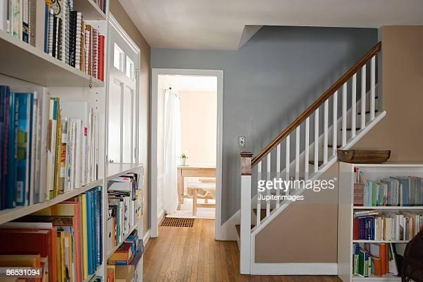 Bookshelves and stairway