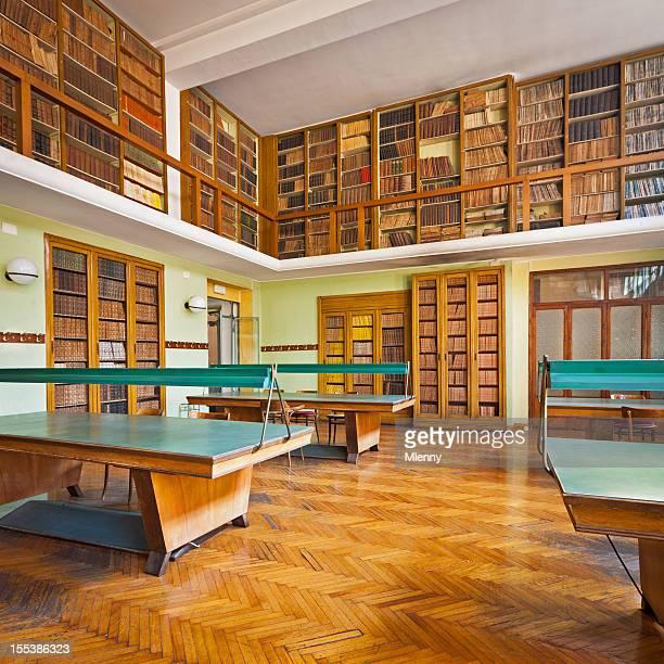 Bookshelves at vintage university library