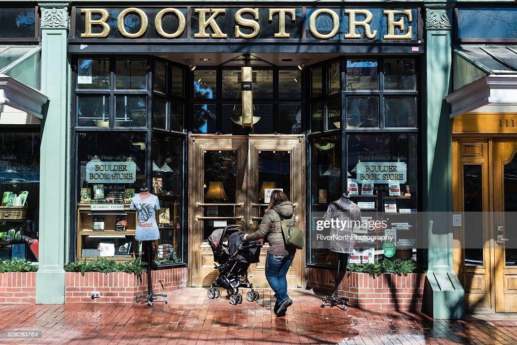 Bookstore, Historic Pearl Street Mall in Boulder Colorado : Stock Photo