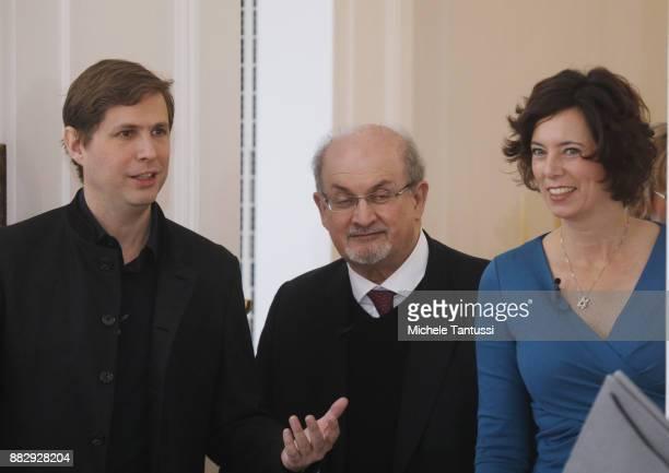 Bookwriters and authors Salman Rushdie Eva Menasse and Daniel Kehlmann arrive to the Bellevue Forum meeting on theme ' Die Freiheit des Denkens in...