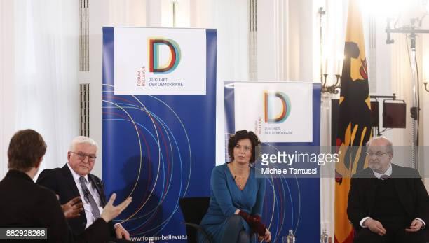 Bookwriters and authors Salman Rushdie Eva Menasse and Daniel Kehlmann speak to German federal state president FrankWalter Steinmeier during a...