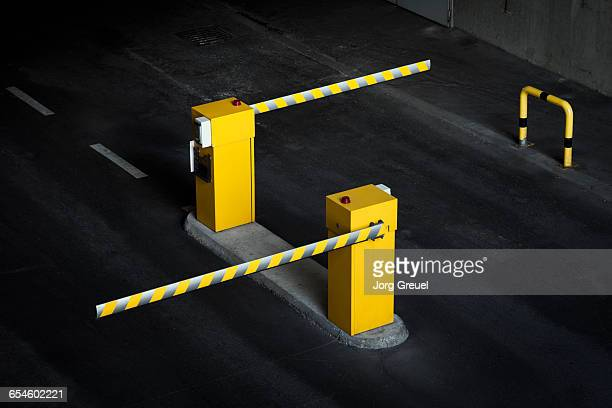 boom barriers in car park - forbidden stock pictures, royalty-free photos & images