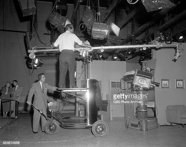 Boom operator at CBS Television City Los Angeles California Image dated March 22 1955