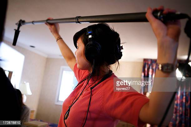 boom operator - film crew stock pictures, royalty-free photos & images